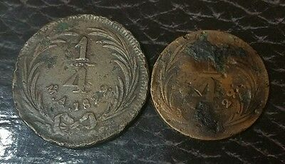 MEXICO 1829 1/4 Real Large and Small Size Copper Coins VERY VERY SCARCE