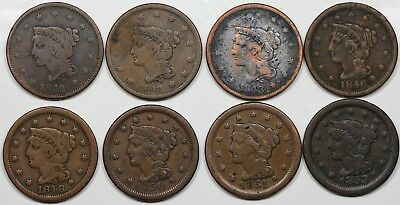 Lot of 8 Braided Hair Large Cents, 2x 1842, 1843, 2x 1846, 1850, 1851, 1853
