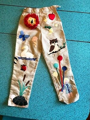 Vintage 60's 70's Children's Novelty Pants with Fun Appliques, Lion, Cat, Owl