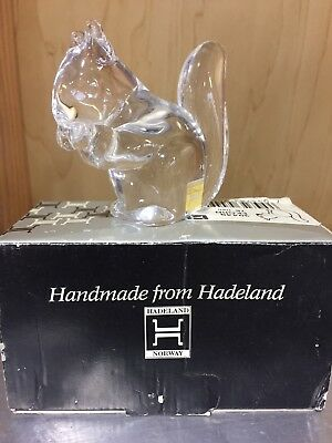 Hadeland Crystal clear glass 39449 EKORN Squirrel Norway signed paperweight 75mm