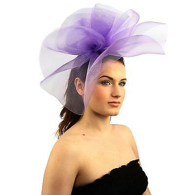 Fancy Kentucky Derby Tulle Headband Comb Fascinator Millinery Cocktail Hat Lilac