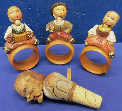 Anri Italy Hand Carved Wood - Nodder Napkin Rings and Mechanical Bottle Stopper