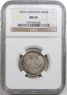 1907-G Germany 1 Mark, NGC MS65, nicely toned