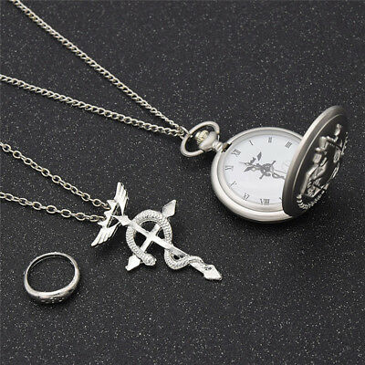 Full Metal Alchemist Cosplay Pocket Watch Dull Polish Necklace and Ring Unisex