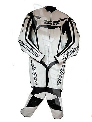 Men Motorcycle Leather Racing Suit Ce Approved Protection All Sizes White Color