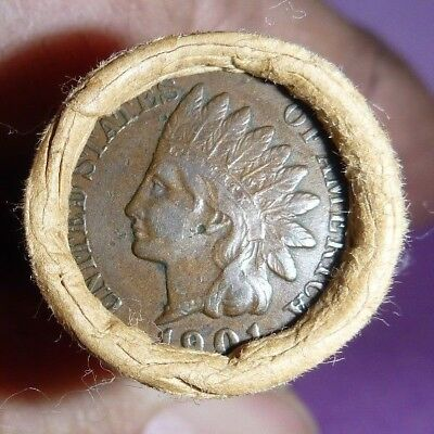 Unsearched Flying Eagle Indian Head Cent Wheat Penny Roll 1863 & 1901 end COPPER