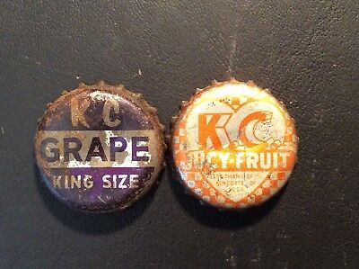 2 Different  K C - Kit Carson  Soda  Bottle Caps -  Used - Cork Lined