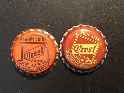 2 Different  Crest   Soda  Bottle Caps -  Used - Cork Lined
