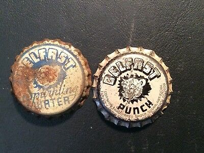 2 Different  Belfast   Soda  Bottle Caps -  Used - Cork  Lined