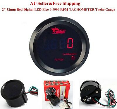 "AU 2"" 52mm Red Digital LED Elec 0-9999 RPM Tachometer Tacho Gauge Car Motor"