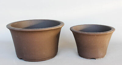 "Japanese  bonsai ceramic  pot  9.5/""L  style  33-18 3pcs//set clay color"