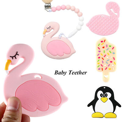 Baby Teether Flamingo Necklace Accessories Silicone Teether Baby Bite Toy Safety