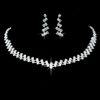 Fashion Crystal Necklace Earrings Women Wedding Bridal Party Costume Jewelry Set