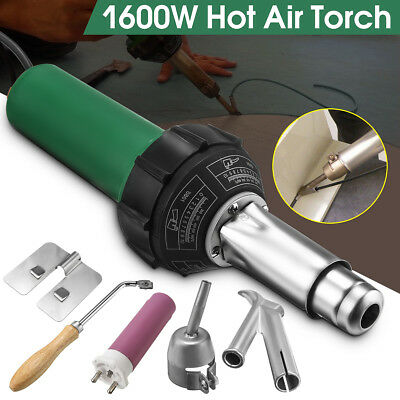 1600W Hot Air Torch Plastic Welder Welding Heat Gun Pistol Kit w/ Nozzle + Rod