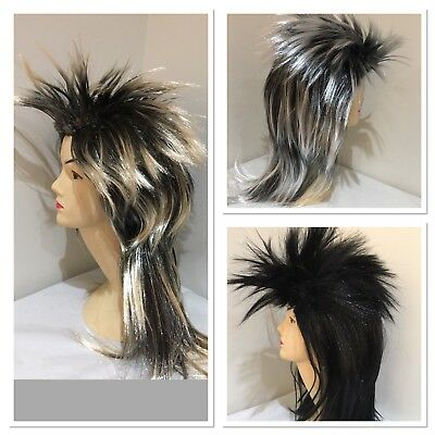 Black/ blonde/ silver Mullet wig 70s 80s Party Costume Rock Bogan