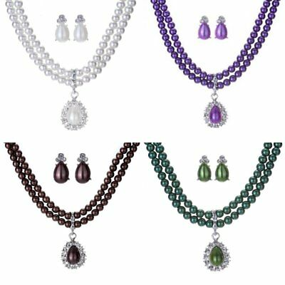 Crystal Pearl Necklace Earrings Women Wedding Bridal Party Costume Jewelry Set