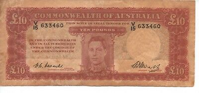 TEN POUND NOTE - FIRST PREFIX - R60 - Signed by Coombs & Watt