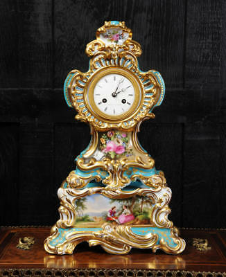 Early French Rococo Porcelain Clock Silk Suspension Silvant Paris Fully Restored