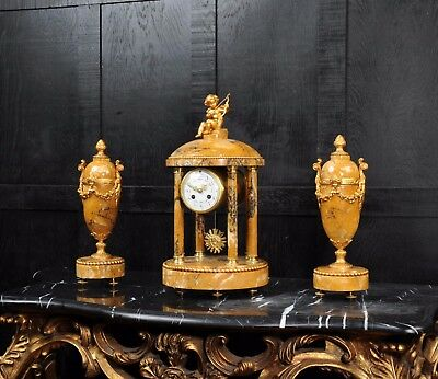 Grand Tour Portico Clock Set Sienna Marble By Samuel Marti Beautifully Restored