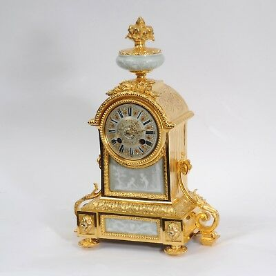 Ormolu And Jasperware Porcelain Antique French Boudoir Clock C1880 Fully Working