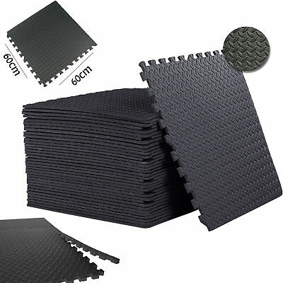 Black Interlocking Floor Mats EVA Foam-Rubber Non Slip Tiles 60cm x 60cm x 10mm