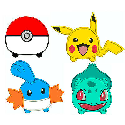 TSUM POKEMON * Machine Applique Embroidery Patterns ** 4 Designs, 4 sizes