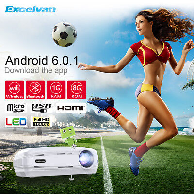 Excelvan BL-59 HDMI WIFI Android 6 1080P LED 3D 8GB Beamer Projektor Spiel Film
