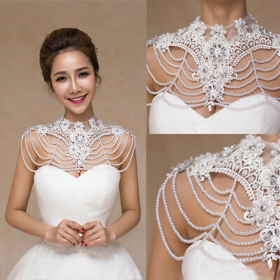 Wedding Bridal Shawl Jacket Wrap Rhinestone Stole Shrug Bolero Lace Beading Cape