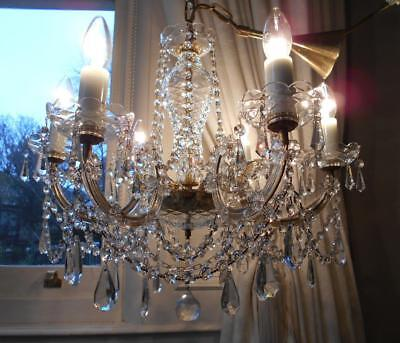 Fabulous Large Vintage Lead Crystal 6Lt Chandelier ~Glass Frame