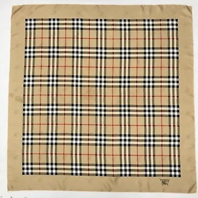 Authentic Vintage Burberry Silk Scarf Beige Check Foulard