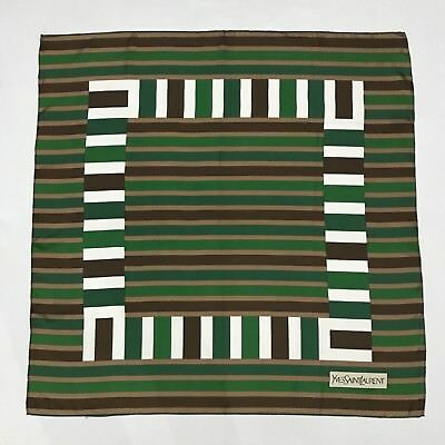 Authentic YSL Silk Scarf Yves Saint Laurent Geometric Green Brown White