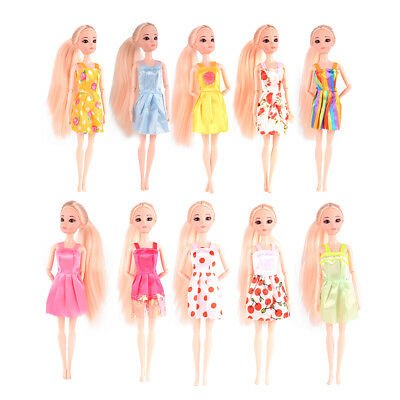 10pcs Fashion Handmade Dresses Outfit for Barbie Doll Toy (Color Random)