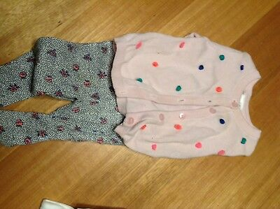 Seed Pink Cardigan And Leggings Outfit Size 000 0-3 M