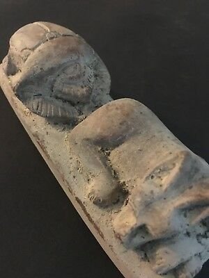 Rare Ancient Egyptian Faience Amulet  Anubis And Scarab 26th DYN 680 Bc