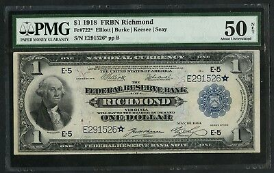 Fr7223* $1 1918 Frbn Star Note Richmond (Only 12 Recorded) Pmg Au 50 Net Wlm5651