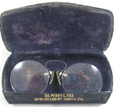 Vintage Pince-Nez Bifocal Spectacles with Hard Case - Media, PA