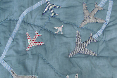 Unique design handmade 'flight' cot quilt air show flying motif in blue and red