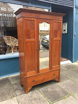 Antique mahogany mirror door inlaid wardrobe with 1 drawer (3 sections) #1740C