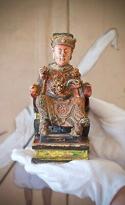 Chinese Gilt Polychrome Lacquered Seated Official (House God), Qing dynasty