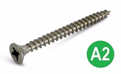A2 Stainless Steel Pozi Countersunk Full Thread Chipboard / Wood Screws All Size