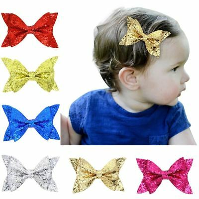"6pcs/Lot 4"" Sequin Glitter Bow Hair Clips Hairpins for Baby Girl Toddlers Kids"