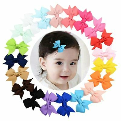 """20 Pcs/Lot Grosgrain 2"""" Hair Bow Covered Alligator Clips for Baby Girl Toddlers"""
