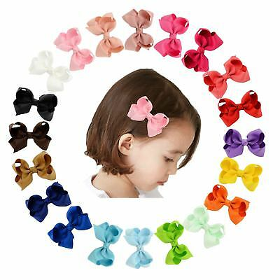 20 Pcs/Lot Grosgrain Hair Bow with Alligator Clips for Baby Girl Toddlers Kids I