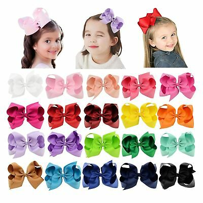 """20 Pcs/Lot Grosgrain 6"""" Big Large Bow Hair Clips for Baby Girl Toddlers Kids Chi"""