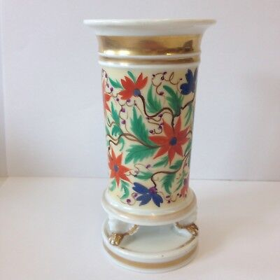 Antique 19th Century French Porcelain Spill Vase Painted With Flowers 15cm