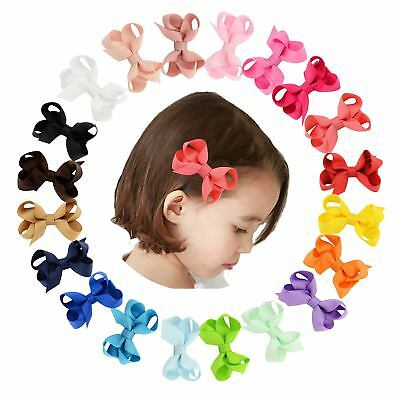 """20 Pcs/Lot Grosgrain 2.4"""" Hair Bow with Alligator Covered Clips for Baby Girl To"""