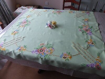Vintage Hand Embroidered Linen Tablecloth- Pale Green Linen /florals - Exquisite