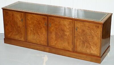 Lovely Large 4 Bank Burr Walnut Sideboard With Gold Tooled Green Leather Surface