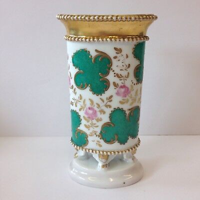 Antique 19th Century French Porcelain Spill Vase Painted With Flowers 14.5cm