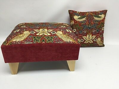 Footstool Pouffe William Morris Red Strawberry Thief Light Wood Feet Cushion